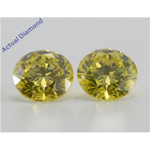 A Pair of Round Cut Loose Diamonds (4.15 Ct, Fancy Vivid Canary Yellow(Irradiated) ,SI2(Clarity Enhanced))