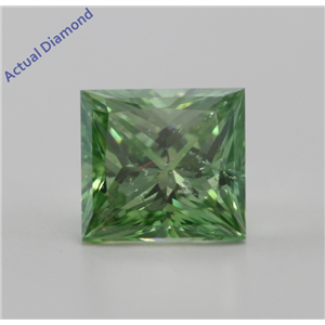 Princess Cut Loose Diamond (1.03 Ct, Olive Green(Color Irradiated), SI3(Clarity Enhanced))