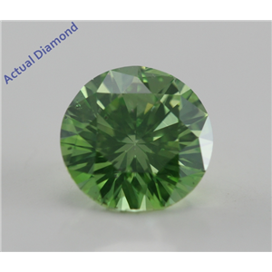 Round Cut Loose Diamond (1.06 Ct, Fancy Intense Olive Green (Color Irradiated), VS2(Clarity Enhanced)) IGL Certified