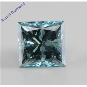 Princess Cut Loose Diamond (2.11 Ct, Fancy Intense Ocean Blue (Irradiated), SI1 (Clarity Enhanced)) IGL Certified