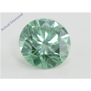 Round Cut Loose Diamond (0.81 Ct, Fancy Intense bluish green(Irradiated) , VVS2( Enhanced) ) IGL