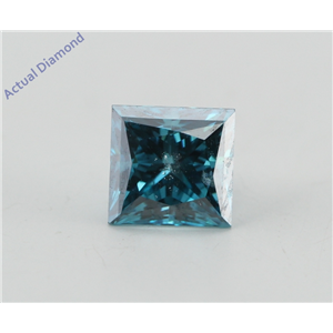 Princess Loose Diamond (0.71 Ct, Fancy Vivid Blue(Irradiated) Color, SI2(Clarity Enhanced) Clarity) IGL