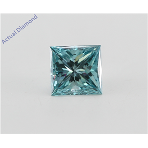 Princess Loose Diamond (0.75 Ct, Fancy Vivid Blue(Irradiated) Color, VS2(Clarity Enhanced) Clarity) IGL