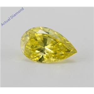Pear Cut Loose Diamond (1.26 Ct, Canary Yellow(Irradiated) Color, VS2(Clarity Enhanced) Clarity) IGL Certified