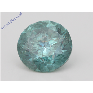 Round Loose Diamond (4.09 Ct Fancy Intense Greenish Blue(Irradiated) SI3(CLARITY ENHANCED) Clarity) IGL