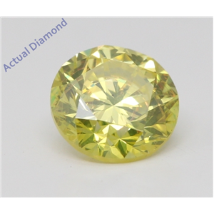 Round Loose Diamond (0.9 Ct,Fancy Intense Yellow(Irradiated) Color,VS1(CLARITY ENHANCED) Clarity) IGL