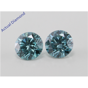 A Pair of Round Cut Loose Diamonds (1.03 Ct, Ocean Blue (Color Irradiated) Color, SI1(Clarity Enhanced) Clarity)