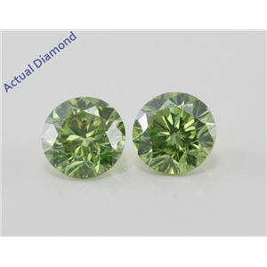 A Pair of Round Cut Loose Diamonds (1.4 Ct, Olive Green (Color Irradiated) Color, SI1(Clarity Enhanced) Clarity)