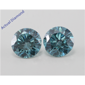 A Pair of Round Cut Loose Diamonds (2.19 Ct, Fancy Intense Blue (Color Irradiated) Color, SI1(Clarity Enhanced) Clarity) IGL Certified