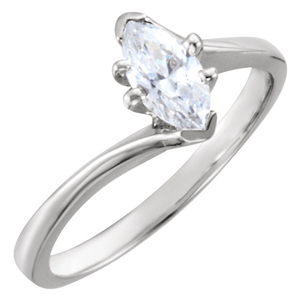 Marquise Diamond Solitaire Engagement Ring 14k White Gold 1.26 Ct, D , SI2 IGL Certified