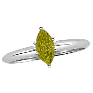 Marquise Diamond Solitaire Engagement Ring 14k White Gold 2.55 Ct, (Canary Yellow(Color Irradiated) Color, SI2(ClarIty Enhanced) Clarity)