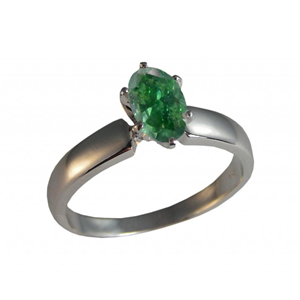 Oval Diamond Solitaire Engagement Ring 14k 4.01 Ct, Forest Green(Color Irradiated) , SI2(ClarIty Enhanced)