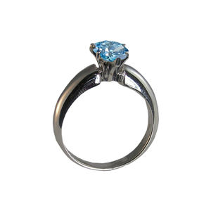 Oval Diamond Solitaire Engagement Ring 14k White Gold 0.71 Ct, (Nice Blue (Color Irradiated) Color, si1 Clarity)