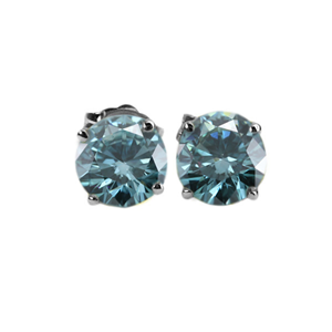 Round Diamond Stud Earrings 14K White Gold (1.03 Ct, Ocean Blue (Color Irradiated) Color, SI1(Clarity Enhanced) Clarity)