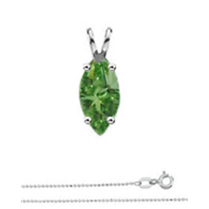 Marquise Diamond Solitaire Pendant Necklace 14k White Gold ( 0.76 Ct, Olive Green(Color Irradiated) Color, SI1(Clarity Enhanced) Clarity)