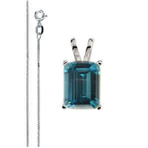 Emerald Diamond Solitaire Pendant Necklace 14k White Gold ( 1.81 Ct, Ocean Blue (Color Irradiated) Color, SI1(Clarity Enhanced) Clarity)