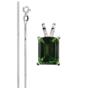 Emerald Diamond Solitaire Pendant Necklace 14k White gold ( 1.4 Ct, Olive Green(Color Irradiated) Color, VS2(Clarity Enhanced) Clarity)