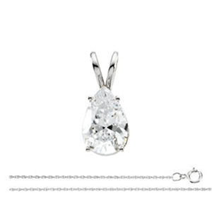 Pear Diamond Solitaire Pendant Necklace 14k White Gold ( 1 Ct, D, VS2(Clarity Enhanced) IGL Certified)