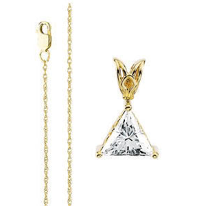 Triangle Diamond Solitaire Pendant Necklace 14k Yellow Gold ( 0.5 Ct, F Color, SI1 Clarity)
