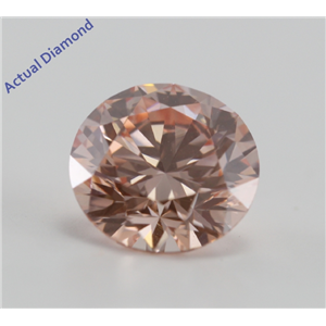 Round Cut Loose Diamond (1.57 Ct, Pinkish Orange (HPHT Color Treated), VVS1)