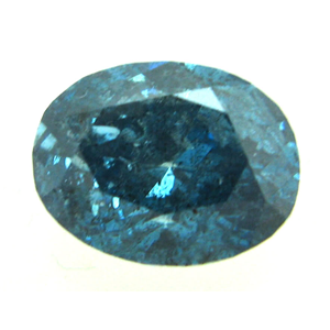 Oval Cut Loose Diamond (0.97 Ct, BLUE(COLOR IRRADIATED) Color ,I2(LASER DRILLED) Clarity)