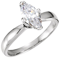 14k White Gold Marquise Solitaire Ring 0.8ct SI G Color