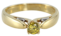 18k Yellow Gold Round Cut Yellow Solitaire Diamond Ring