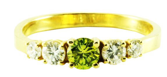 14k Yellow Gold Diamond 5-stone Green Irradiated Half-Eternity Wedding Band