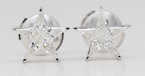 White gold kite cut star diamonds