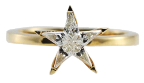 18k Yellow Gold Kite Cut Star Shape Diamond Solitaire Ring
